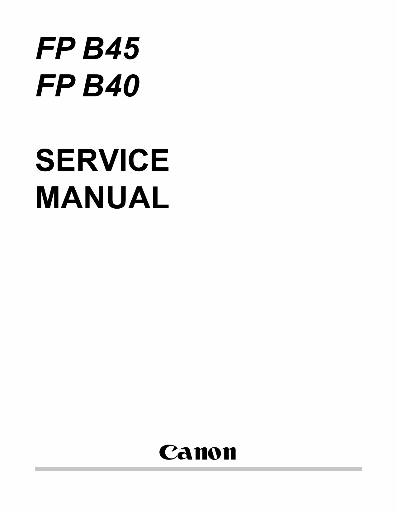 Canon FAX FP-B40 B45 Parts and Service Manual-1